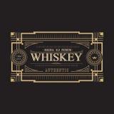 Antique frame vintage border whiskey label retro. Vector illustration Royalty Free Stock Images