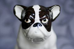 Antique french bulldog statue 1. Stock Images