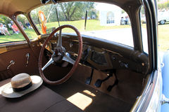 Antique french car cabin interior Stock Photos