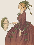 Antique French Fashion Plate La Mode Feminine Royalty Free Stock Images
