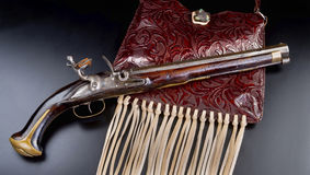 Antique French Flintlock Pistol. Antique French flintlock pistol made in the late 1700`s Stock Photo