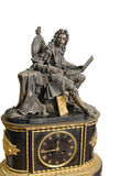 Antique French mantel clock and statuette of King Stock Photo