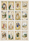 Antique french nobility trade cards. A set of sixteen Antique french nobility trade cards featuring Napoleon and Bonaparte Stock Photography