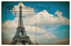 Antique french postcard  from paris with eiffel tower and blue s Royalty Free Stock Photo