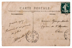 Antique french postcard  with stamp from paris Stock Photos