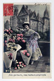 Antique french postcard with stamp from paris. Stock Photo