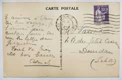 Antique french postcard with stamp from paris. Royalty Free Stock Images