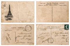 Antique french postcard  with stamp from Paris. Scrapbook elemen Stock Photos