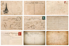 Antique french postcard with stamp from Paris Royalty Free Stock Images
