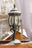 Antique frosty lamp and beautiful snow covered. Antique frosty lamp and beautiful snow cover in winter Stock Photo