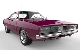 Antique fuchsia retro muscle car. Extreme closeup shot Stock Images