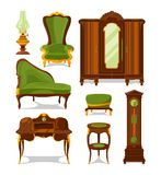 Antique furniture in cartoon style. Vector illustrations isolate stock illustration
