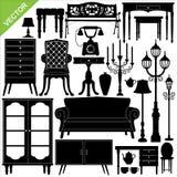 Antique furniture silhouettes vector. Set of antique furniture silhouettes vector Stock Photos