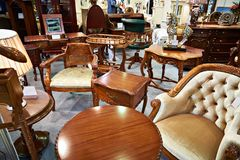 Antique furniture store. With wooden goods Stock Photo
