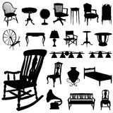 Antique furnitures. Set of antique furniture vector Stock Images