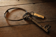 Antique Gaoler's key. Antique Brass key kept by gaoler Stock Photo