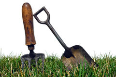 Antique Gardening Tools in Garden Grass on White stock photo