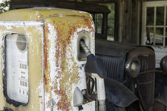 Antique Gasoline Pump and Truck Stock Photography