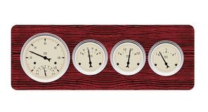 Antique gauges. A scalable vector illustration of an antique gauge cluster on a wooden background Royalty Free Stock Photos