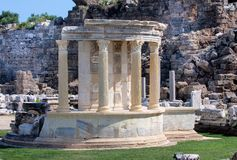 Antique gazebo with Corinthian columns in Side, Turkey Royalty Free Stock Image