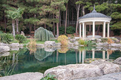 Antique gazebo in  park near a pond Royalty Free Stock Photography