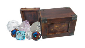 Antique Gems Pour from Wooden Box Royalty Free Stock Photo