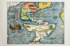Antique German Map Of America Stock Images