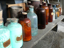 Antique glass bottles Royalty Free Stock Photography