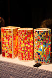 Antique glass mosaic table lamps Stock Photography