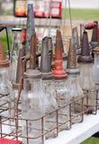 Antique glass oil bottles Royalty Free Stock Photos