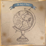 Antique globe hand drawn sketch placed on old paper background. Royalty Free Stock Photo