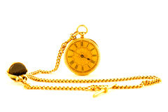 Antique God Watch. Antique gold watch with gold chain on a white background Royalty Free Stock Photography