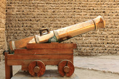 Antique gold cannon in dubai museum Royalty Free Stock Photos