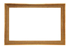 Antique gold-colored frame. Antique Gold Frame, isolated on white background stock images