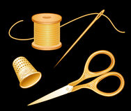 Antique Gold Embroidery Set,Black Royalty Free Stock Image