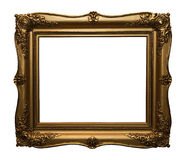 Antique gold frame. The isolated gold frame moldings on white background Stock Photography
