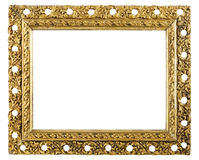 Antique gold frame. Antique gold picture frame isolated on white background royalty free stock image