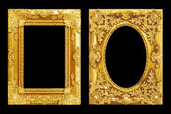 The antique gold frame on the black Royalty Free Stock Photography