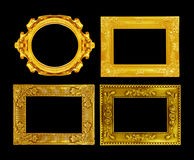 The antique gold frame on the black Royalty Free Stock Image