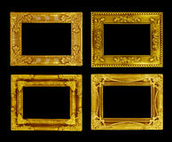 The antique gold frame on the black Royalty Free Stock Images