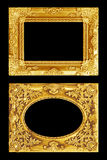 The antique gold frame on the black Royalty Free Stock Photos