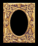 The antique gold frame on the black Stock Photo