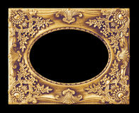 The antique gold frame on the black Stock Images