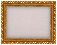 The antique gold frame with burlap Royalty Free Stock Image