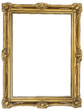 Antique gold frame. Antique golden picture frame with inner cut isolated on white background Royalty Free Stock Photos