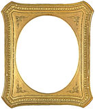 Antique gold frame. Antique golden picture frame with oval inner cut isolated on white background Stock Photo