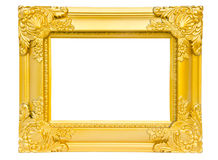 Antique gold frame isolated on white background. Clipping path Stock Images