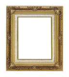 Antique gold frame on white background. Antique gold frame isolated on white background Royalty Free Stock Image