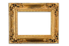 The antique gold frame on the white background Royalty Free Stock Image