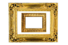 The antique gold frame on the white background Stock Image
